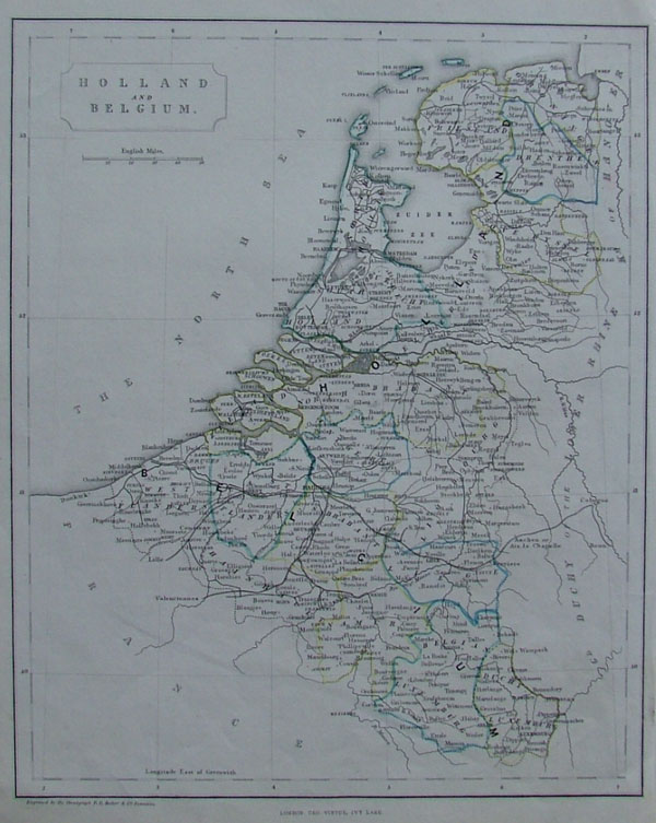 map Holland and Belgium by F.P. Becker, Virtue