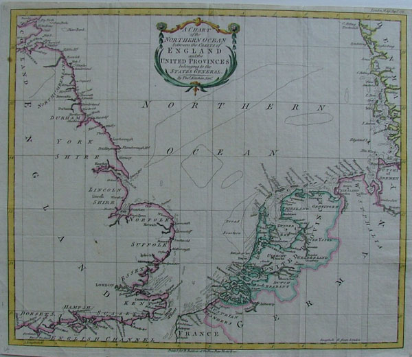 map A Chart of the Northern Ocean between the coasts of England and the United Provinces by Thomas Kitchin, R. Balwin