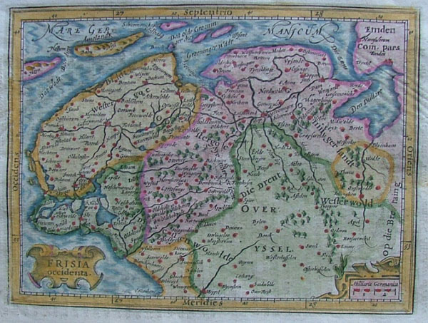 map Frisia Occidenta by Gerard Mercator, Gergard and Jodocus Hondius