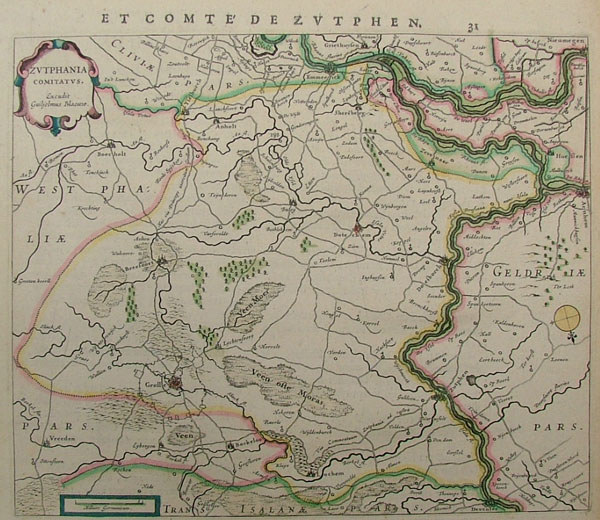 map Zutphania Comitatus by Willem Blaeu