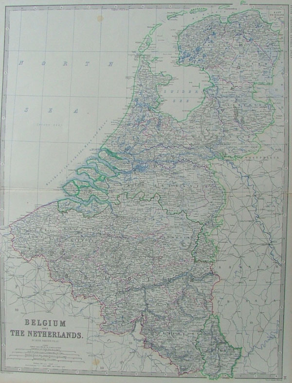 map Belgium and the Netherlands by Keith Johnston