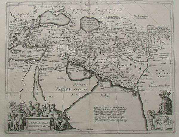map Allexandri magni Macedonis Expeditio by Papierformaat is 66 X 54 cm