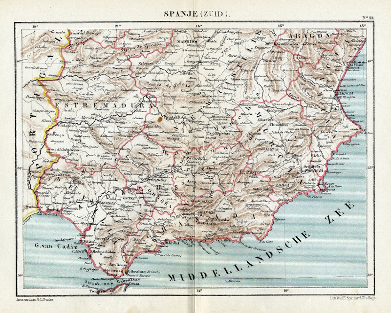 Spanje Zuid An Antique Map Of Spain By Kuyper Kuijper From 1880