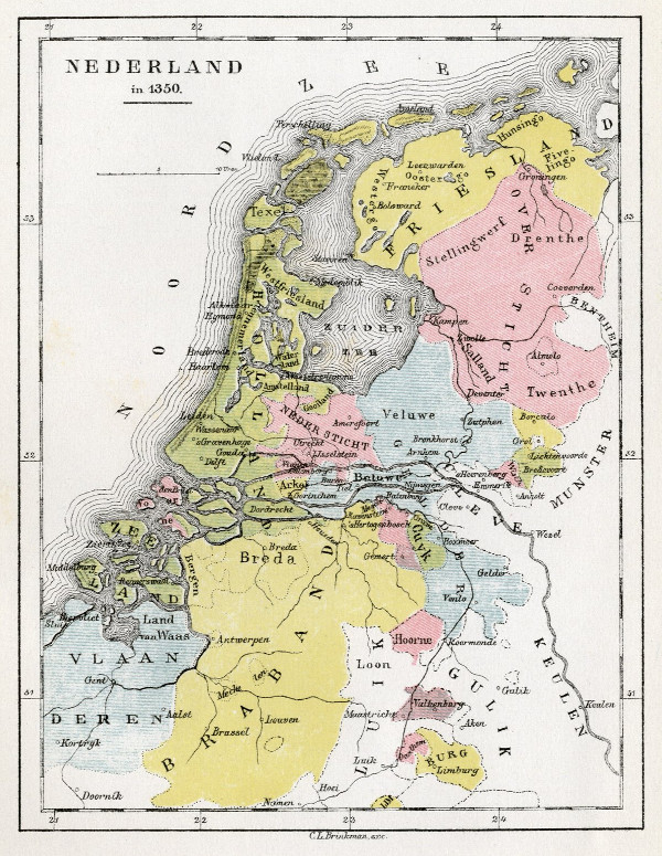 map Nederland in 1350 by C.L. Brinkman, Amsterdam