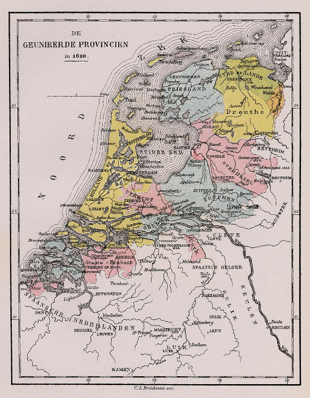 map De Geunieerde Provincien in 1610  by C.L. Brinkman, Amsterdam