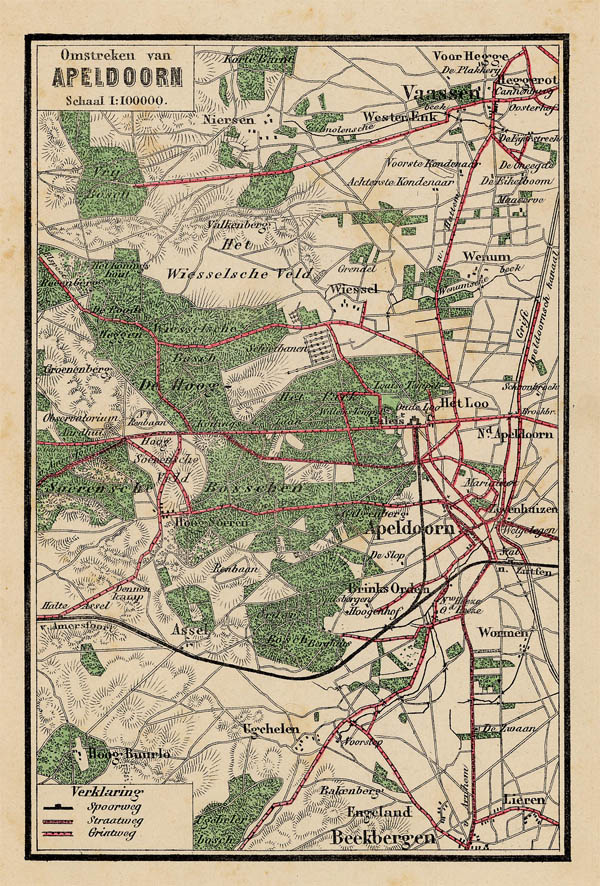 Omstreken van Apeldoorn an antique map of Gelderland by Craandijk
