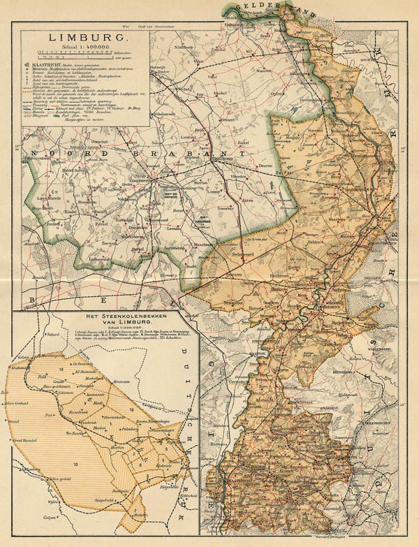 map Limburg by Winkler Prins