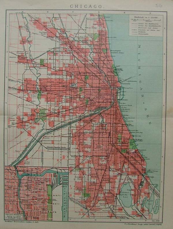 map Chicago by F.A. Brockhaus