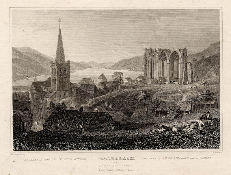 Bacharach and St Werner�s chapel by J. Richards naar W. Tombleson