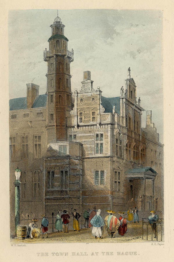 view The Town Hall at The Hague by A.H. Payne, naar W.H. Bartlett