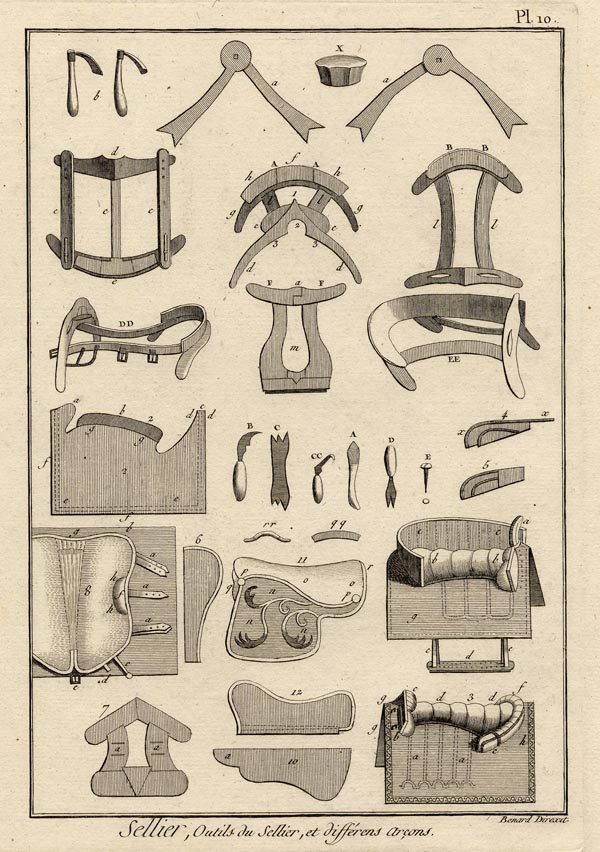 print Sellier, outils du sellier, et différens arcons by Robert Benard